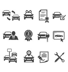 car dealership black glyph icons set vector image