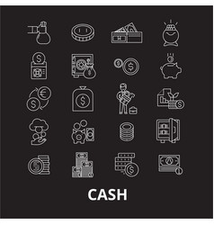 cash editable line icons set on black vector image