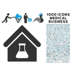 Chemical Labs Building Icon with 1000 Medical vector