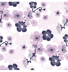 Cherry blossom seamless pattern in violet colors vector