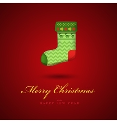 Christmas bright green gift sock Red vector image