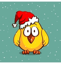 Christmas Chicken In Hat vector image