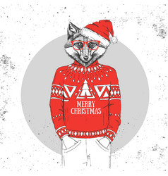 Christmas hipster fashion animal fox vector