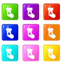 christmas sock set 9 vector image