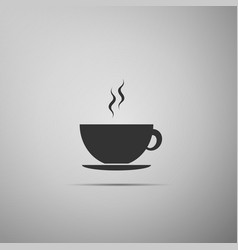 Coffee cup flat icon on grey background tea cup vector
