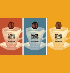 coffee labels with cups coffee beans and barcodes vector image