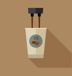 coffee making with paper cup vector image