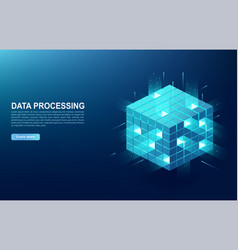 Concept of big data processing center cloud vector