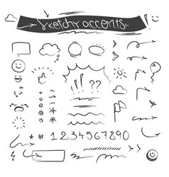 Creative sketchy accents and symbols set vector