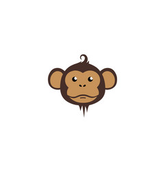 creative thinking cute monkey cartoon logo vector image