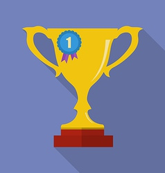 Cup award medal icon Modern Flat style with a long vector image