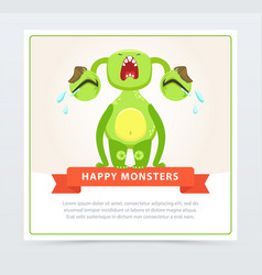 cute funny green monster loudly crying happy vector image