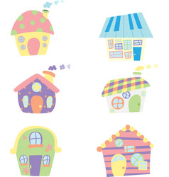 Cute houses icons vector
