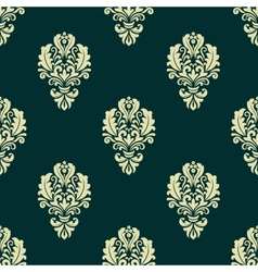 Damask style seamless floral pattern with beige vector image vector image