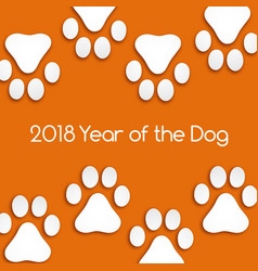 dog footprints cut paper with soft shadow vector image