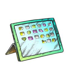 Electronic tablet digital gadget color vector