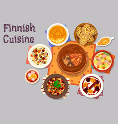 Finnish cuisine traditional dishes icon design vector