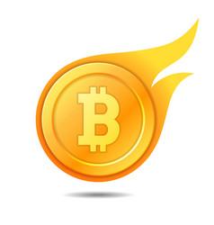 flaming bitcoin symbol icon sign emblem vector image