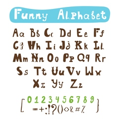 Funny alphabet Hand drawn calligraphic font ABC vector