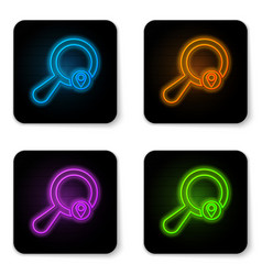 glowing neon search location icon isolated on vector image