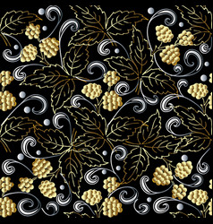 gold 3d berries abstract seamless pattern vector image