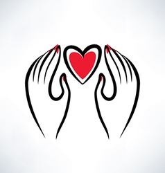Hands and heart vector