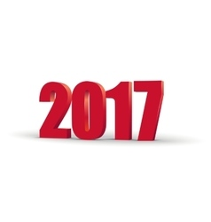 happy new year 2017 celebration 3d text red 2017 vector image
