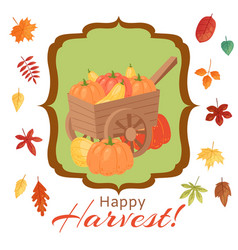 happy thanksgiving pumpkins of vector image