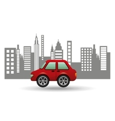 Hatchback car city background design vector