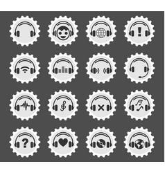 Headphones icon set vector
