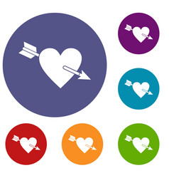 Heart with arrow icons set vector