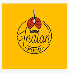 indian food logo round linear indian turban vector image