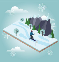 Isometric man skiing cross country skiing winter vector