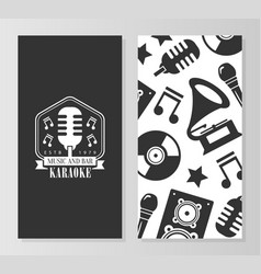karaoke music and bar card template front and vector image