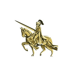 Knight Riding Steed Lance Isolated Retro vector
