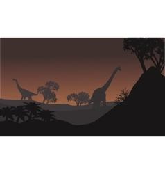 Landscape brachiosaurus at night vector image