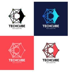 Letter c blockchain logo template technology vector