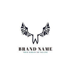 Letter w with wing design template vector