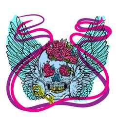 Line art of angel wings scary skull vector