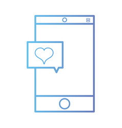 Line smartphone technology with heart chat bubble vector