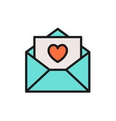 love letter with heart valentine day flat color vector image