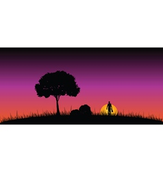 Man in nature on a moonlight color vector
