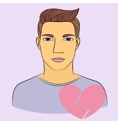 Man with broken heart vector