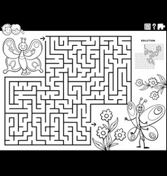 maze game with butterflies and flowers coloring vector image
