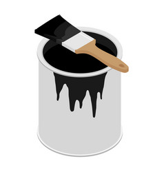 Metal paint can with black paint and paintbrush vector