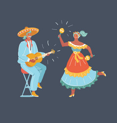 mexico dancers and latin music folk celebration vector image