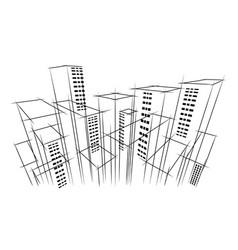 modern dark city horizon scape sky scraper vector image