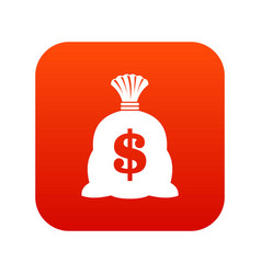 Money bag with us dollar sign icon digital red vector