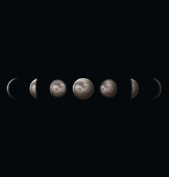 moon phases earth satellite surface crescent on vector image
