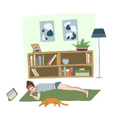 Morning workout at home young girl in plank vector